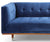 Henry blue velvet 2 seater sofa with rubber wood legs