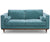 Ruby blue fabric 2 seater sofa with rubber wood legs