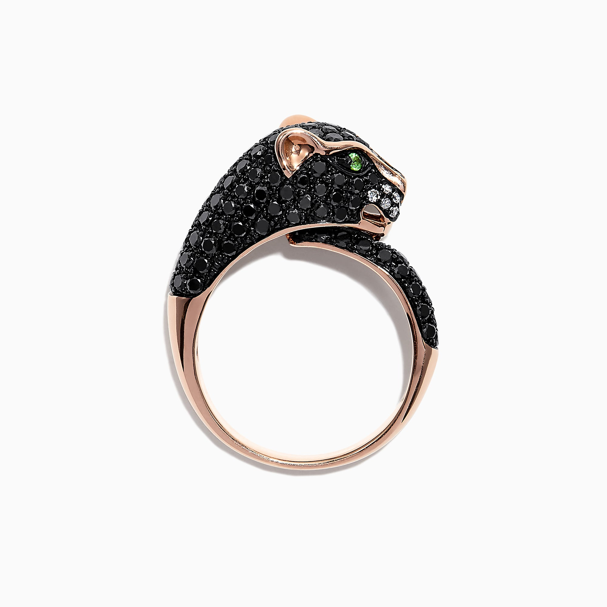 Effy Signature 14K Gold Black Diamond & Tsavorite Panther Ring, 1.75 TCW
