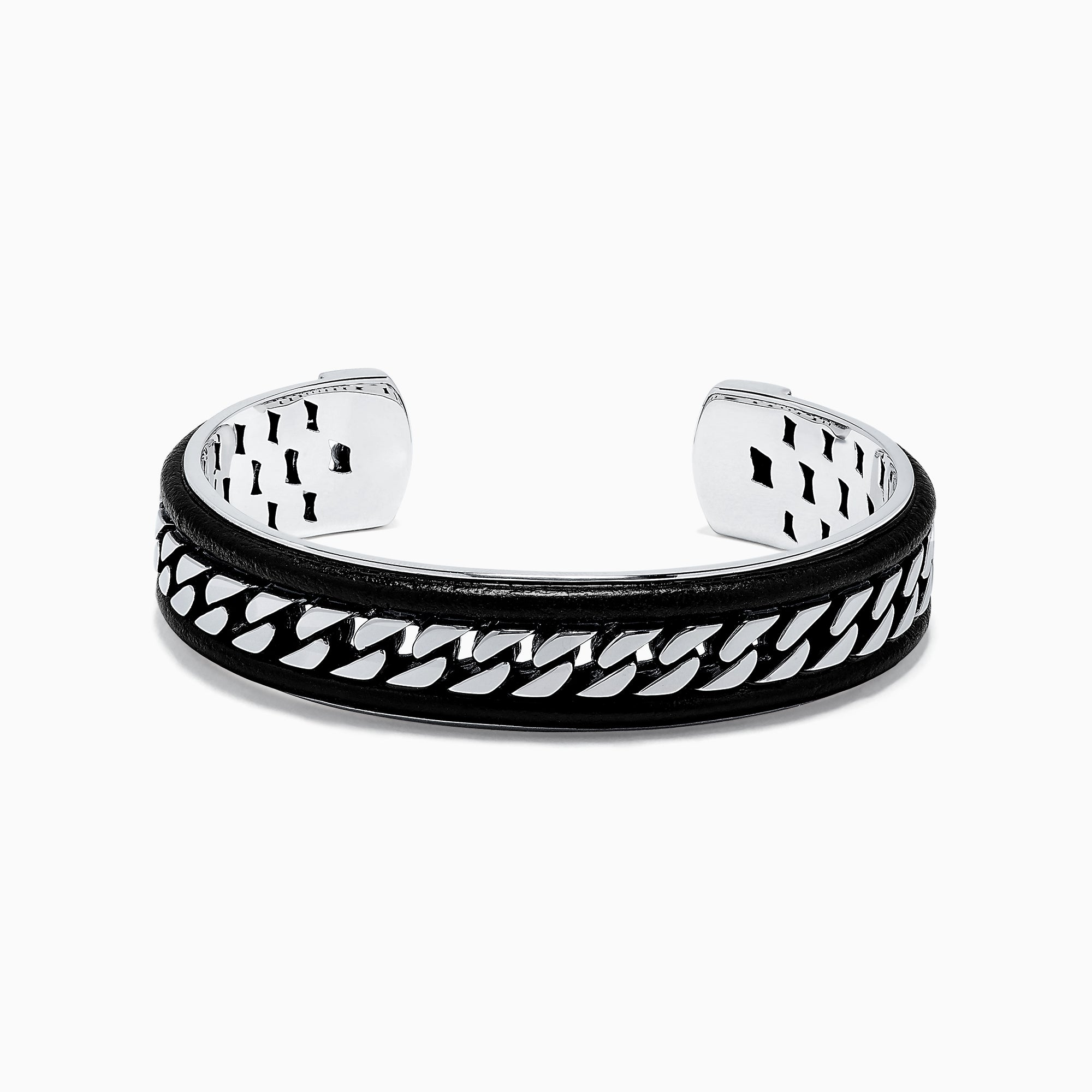 Effy Men's Sterling Silver and Leather Bracelet