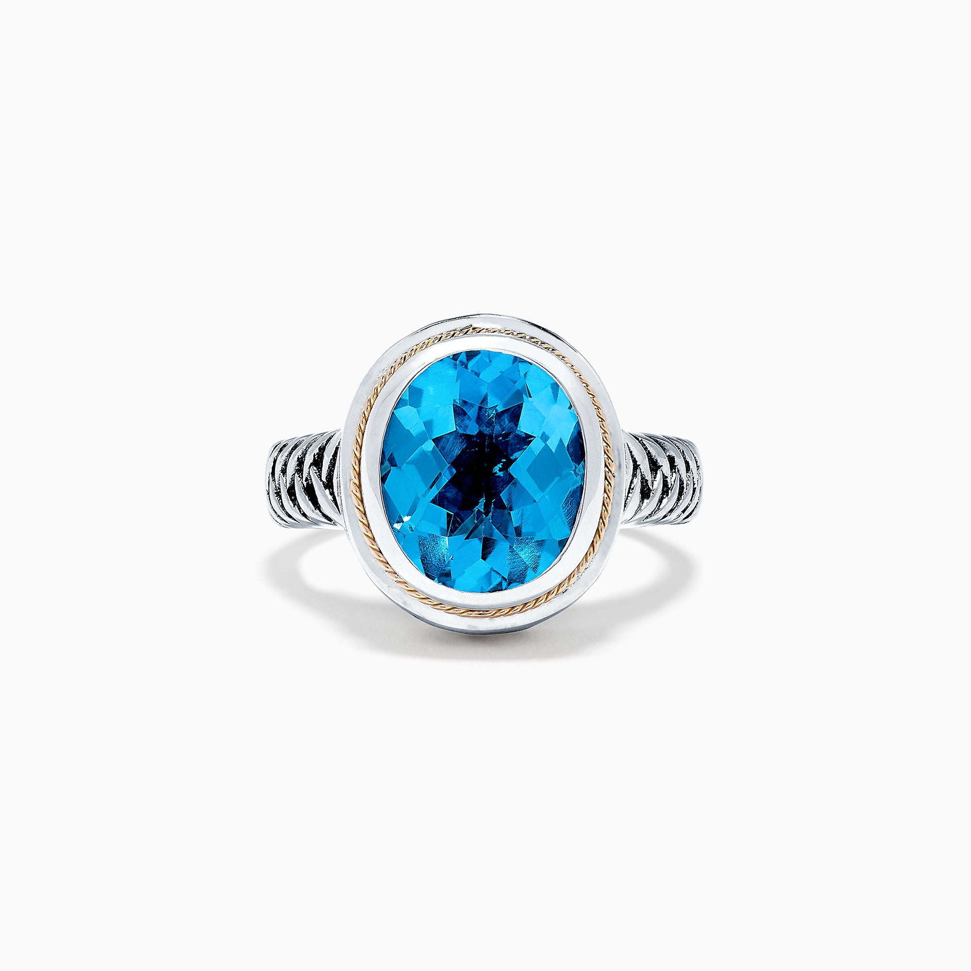 Effy Sterling Silver and 18K Yellow Gold Blue Topaz Ring, 5.70 TCW