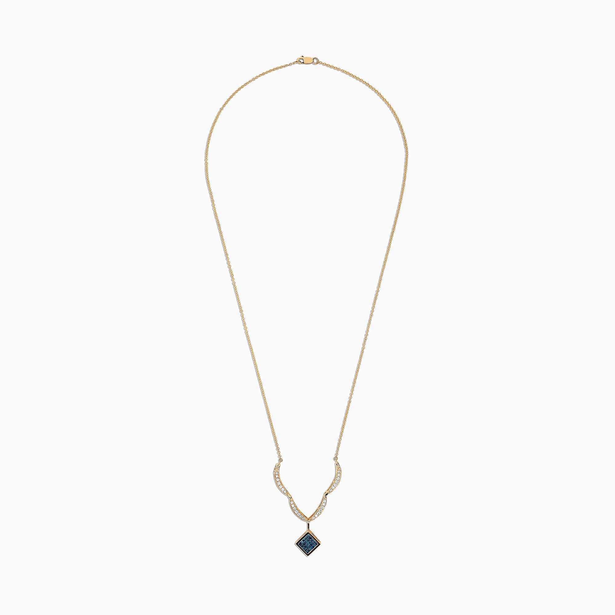 Effy Diversa 14K Yellow Gold Blue and White Diamond Necklace, 1.50 TCW