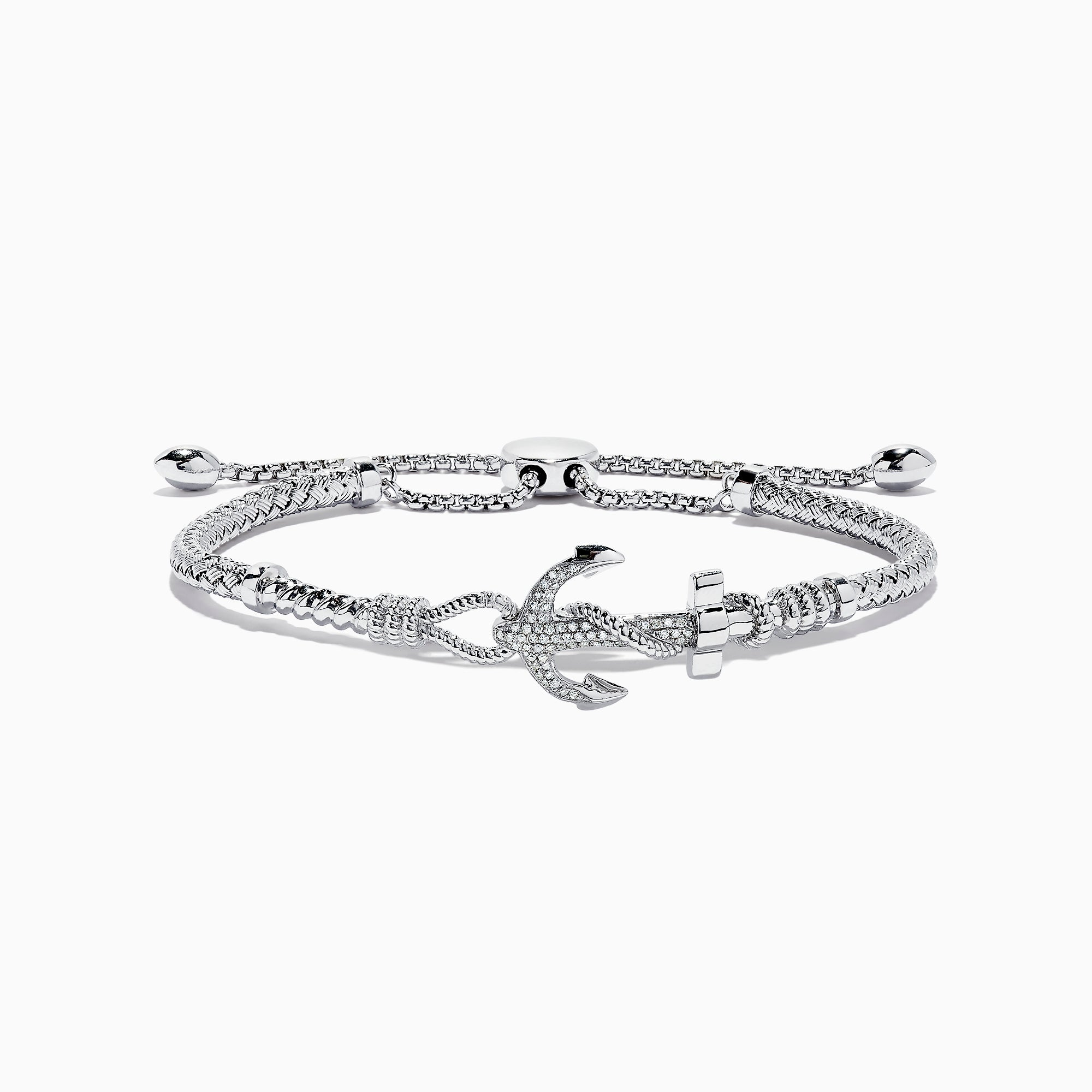Effy Seaside Sterling Silver Diamond Anchor Bracelet, 0.16 TCW