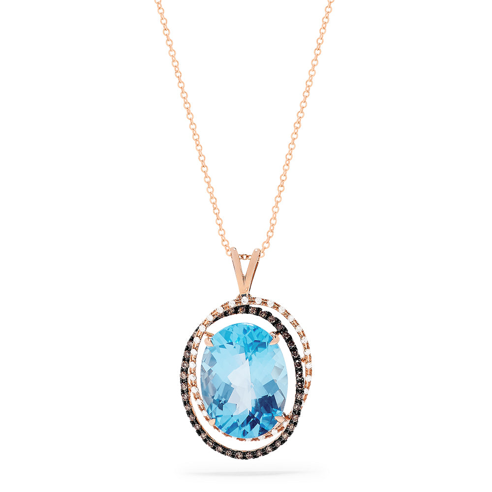 Effy 14K Rose Gold Blue Topaz and Diamond Pendant, 11.96 TCW