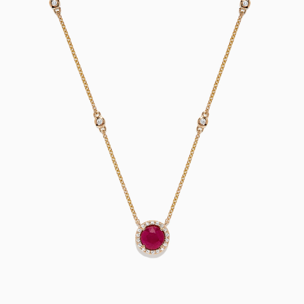 Effy Ruby Royale 14K Yellow Gold Ruby and  Diamond Necklace, 1.11 TCW