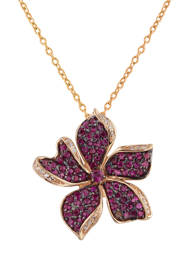 14K Rose Gold Ruby and Diamond Flower Pendant, 1.27 TCW