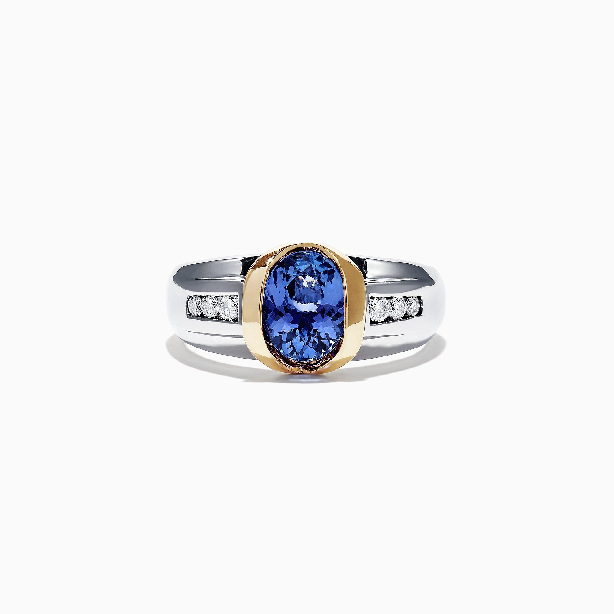 Effy Men's 14K Two-Tone Gold Tanzanite Diamond Ring, 1.90 TCW