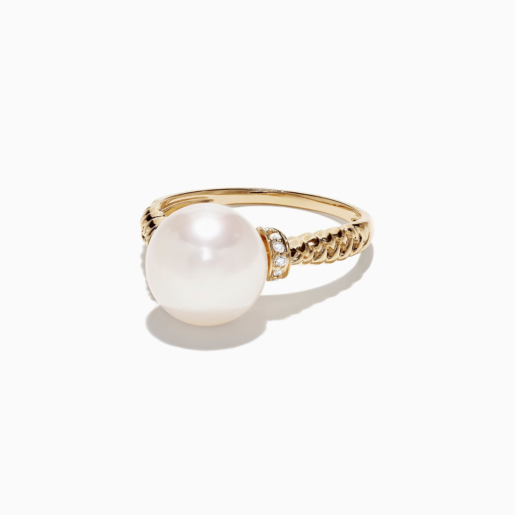 Effy 14K Yellow Gold Cultured Fresh Water Pearl and Diamond Ring, 0.06 TCW