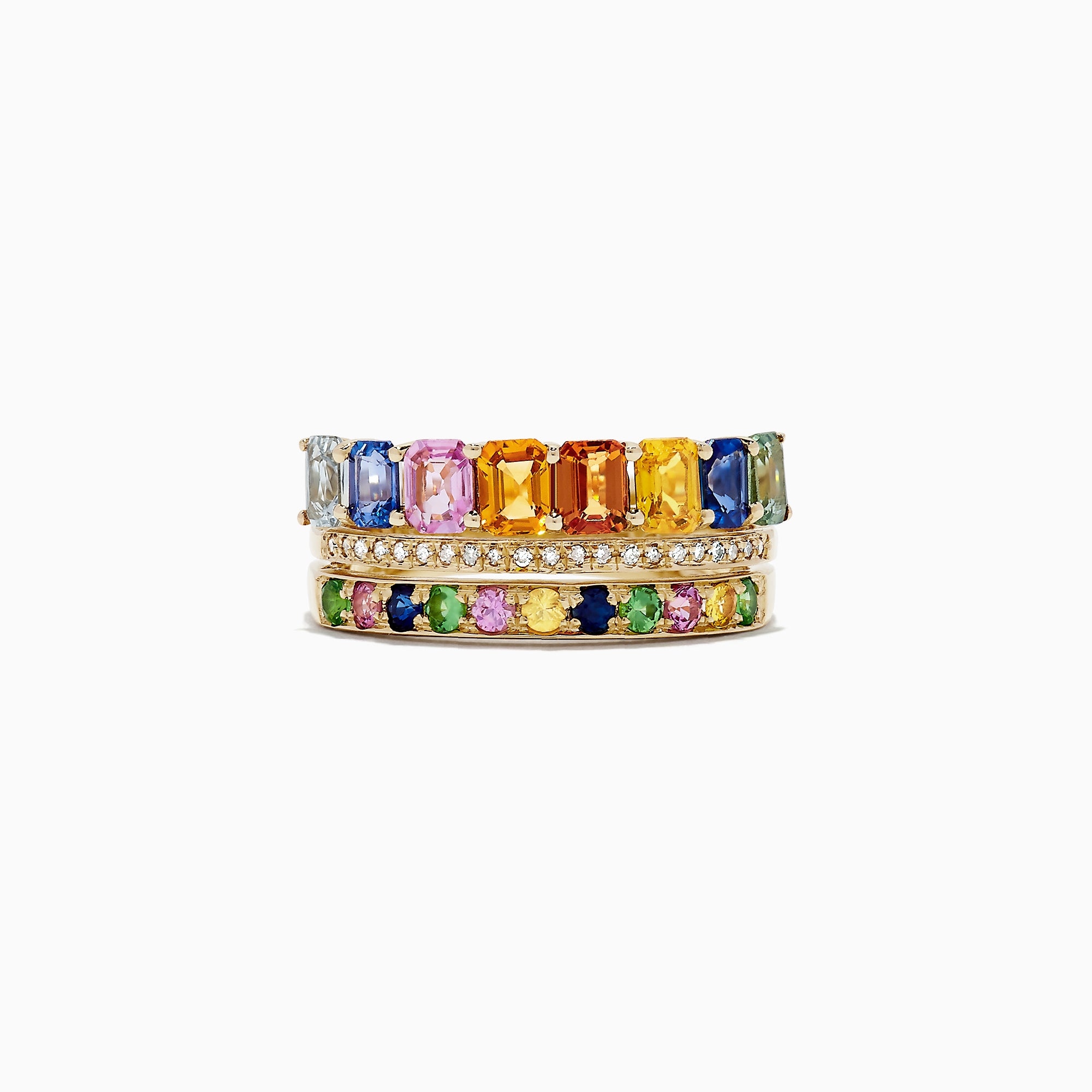 Effy Watercolors 14K Yellow Gold Multi Sapphire and Diamond Ring, 2.76 TCW