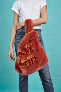 Large Flaming F*ux Fur Tote Coral