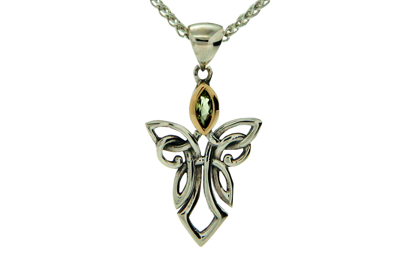 Small Silver Guardian Angel Necklace With Gem By Keith