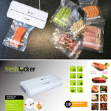 Freshlocker VS90 Vacuum Sealer, One-Button Type Automatic Vacuum Packer, Food Sealer Machine with Starter Bags and Rolls Sets for  Sous Vide and Food Saver (White) - freshlocker