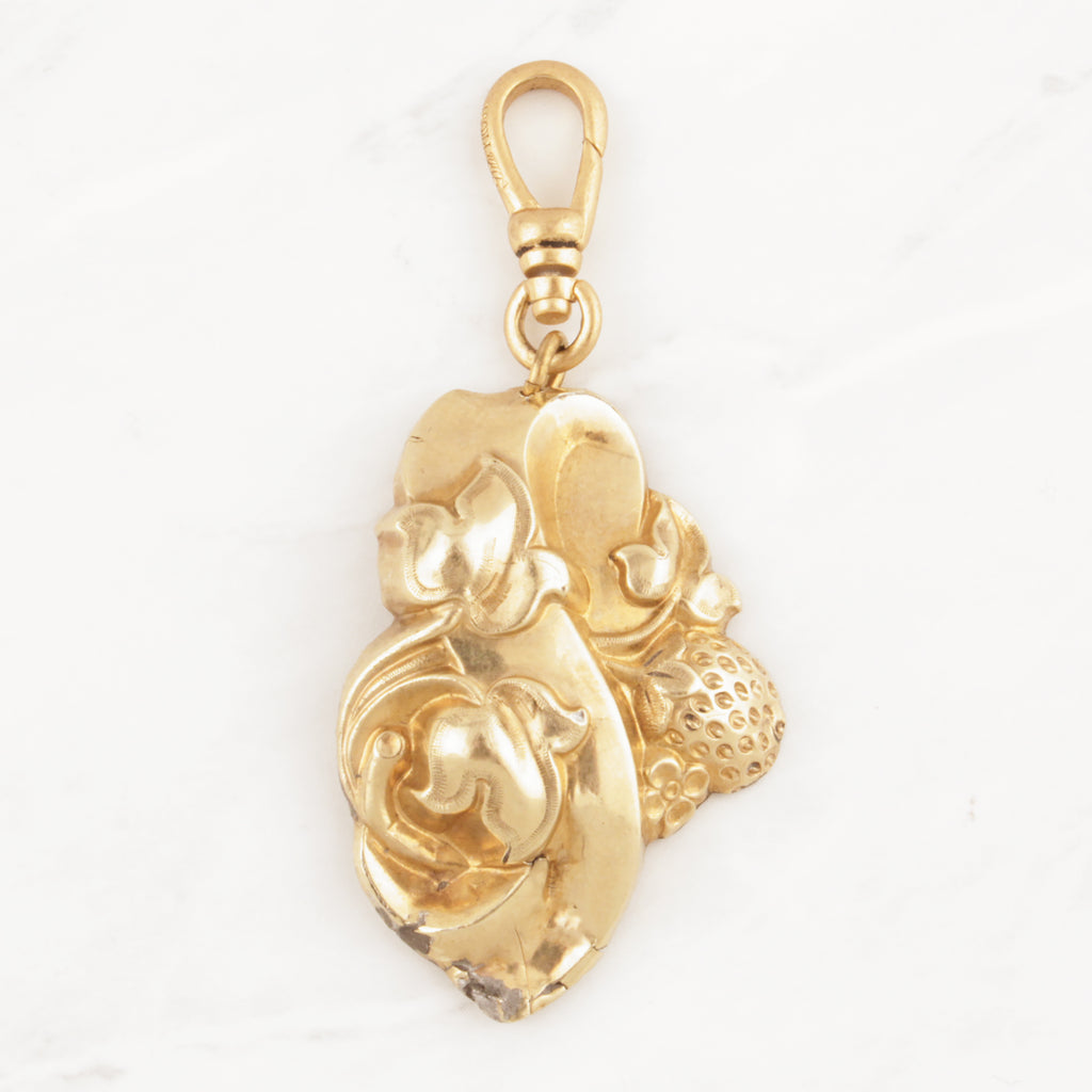 Antique Gold Filled Hollow Form Strawberry Charm