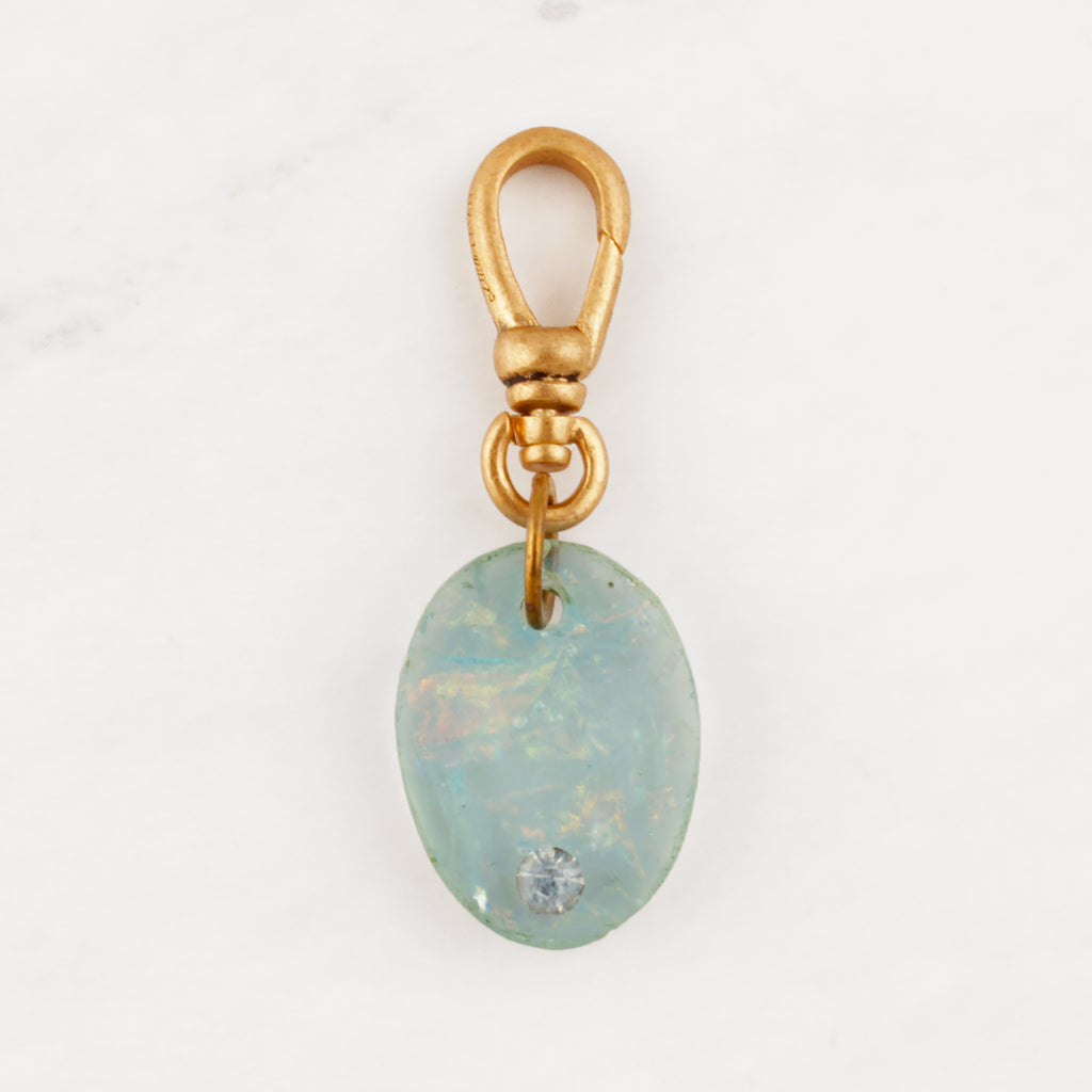 Vintage Petite Blue Resin Charm with Iridescence