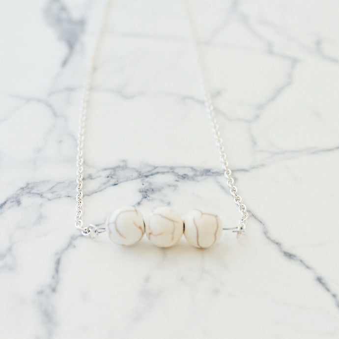 Roxanne Pendant Necklace that Gives Back to Charity by ROX Jewelry – three real howlite stones and silver long necklace