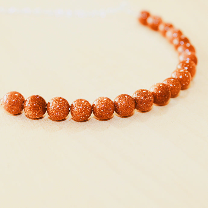 Sarah Choker Necklace that Gives Back to Charity by ROX in  Burnt Orange Goldstone and Silver – Trendy and Affordable Classy Necklace that Gives Burnt Orange Sparkly Stone Jewelry - modern take on classic pearl choker