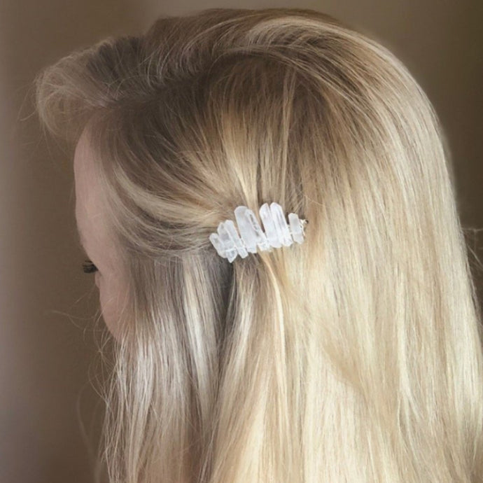 Real Quartz Crystal Hair Comb Great Bridal Accessory, Bridesmaid Accessories for Boho Chic Wedding