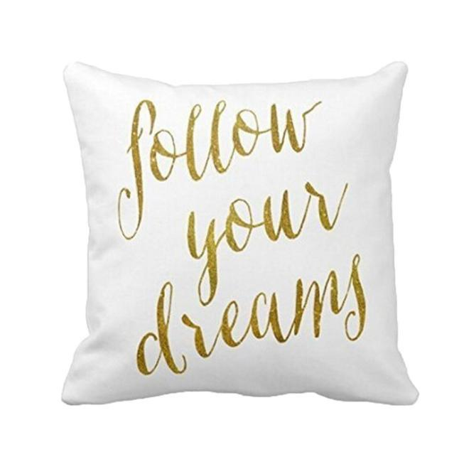 ROX Jewelry Shop - Charity Pillow Case Scrip Font with Gold Sofa Bed Home Decoration Festival Pillow Case Cushion Cover Bedroom Living Room Decor Donating $3 to charity with purchase