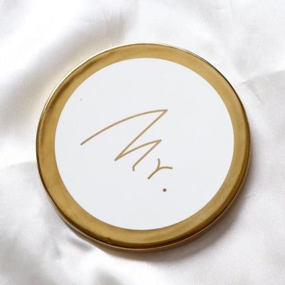Mr. & Mrs. Gold and White Circle Coasters that Give back to charity by ROX – Wedding Gifts under $25