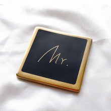 Mr. & Mrs. Gold and Black Square Coasters that Give back to charity by ROX – Wedding Gifts under $25