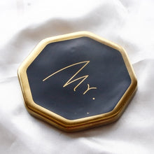 Mr. & Mrs. Gold and Black Octagon Coasters that Give back to charity by ROX – Wedding Gifts under $25