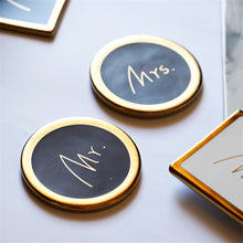 Mr. & Mrs. Gold and Black Circle Coasters that Give back to charity by ROX – Wedding Gifts under $25