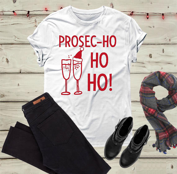 Prosec-Ho Ho Ho Christmas Shirt that Gives Back Perfect Gift for Someone who loves Prosecco by ROX