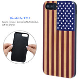 Color 3D Printed on Wood USA Flag Case for iPhone 6,6S,7,8, PLUS, X, XS, XS Max, XR by iProducts US