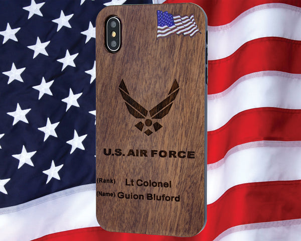 Air Force Phone Case with Rank / Name Includes Glass Screen Protector for iPhone 6,6s,7, 8, PLUS, X, XS, MAX, XR and ALL Galaxy Cases 8 thru s10 and s10+
