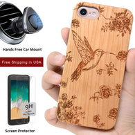 Hummingbird Wooden Engraved iPhone Case by iProducts US