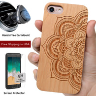 Sunflower Wood Engraved Case By iProducts US Compatible for iPhone