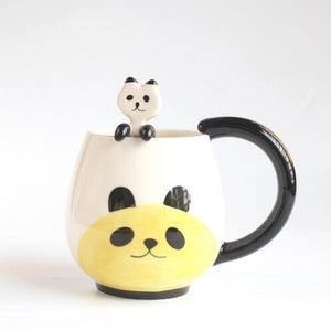 Lovely Cat Frog Panda Pig Coffee Teacup Mug with Spoon - Pets Lovers Store