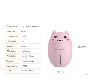 3 in 1 320ML USB Cat Air Humidifier With LED Light Mini Fan