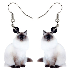 Lovely Elegant Birman Cats Kitten Earrings