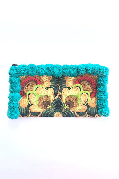 Teal Pom Pom Colourful Clutch with 'Green Peacocks '