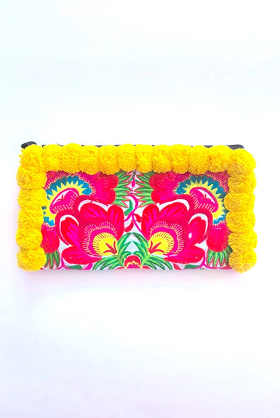 Bright Yellow Pom Pom Colourful Clutch with 'Red Peacocks '