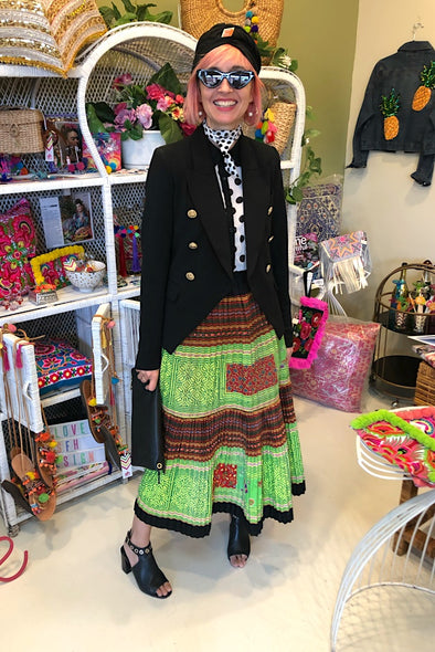 Exquisite Hmong Pleated Skirt - Lime