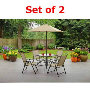 6-Piece Folding Seating Set in Tan - Set of 2: Garden & Outdoor