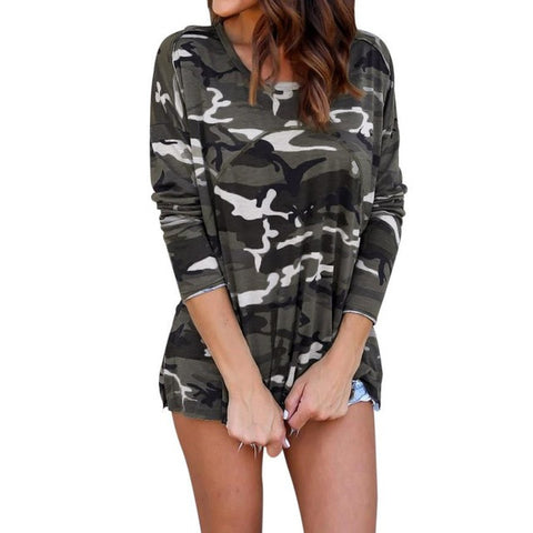Hot Sale Women Camouflage Blouse Fashion Autumn Long Sleeve Top Blouse Lace Up
