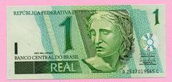banknote of Brazil 1 Real in UNC condition