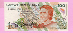 banknote of Brazil 100 Cruzados novos in UNC condition