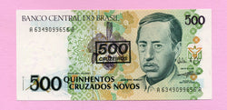 banknote of Brazil 500 Cruzeiros on cruzados novos in UNC condition