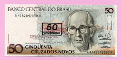 banknote of Brazil 50 Cruzeiros on cruzados novos in UNC condition
