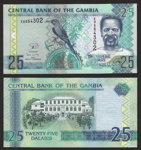 banknote of Gambia 25 Dalasis in UNC condition