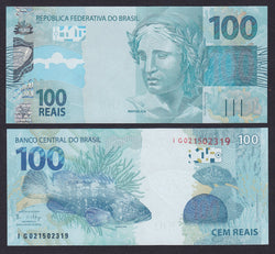 banknote of Brazil 100 Cruzeiros in UNC condition