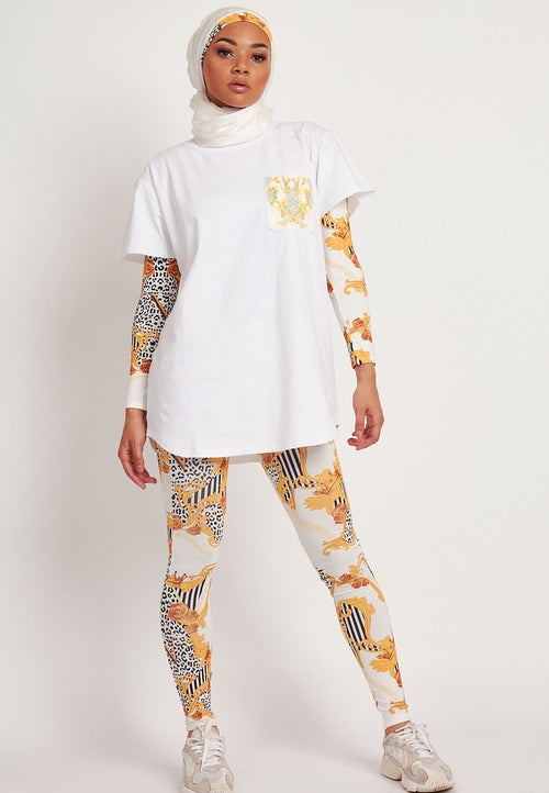 Empower Neish Print Design Oversized T-Shirt - White