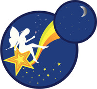 LITTLE FANTASY FAIRY IN SKY STARS MOON BLUE ORANGE YELLOW GREEN WHITE Vinyl Decal Sticker