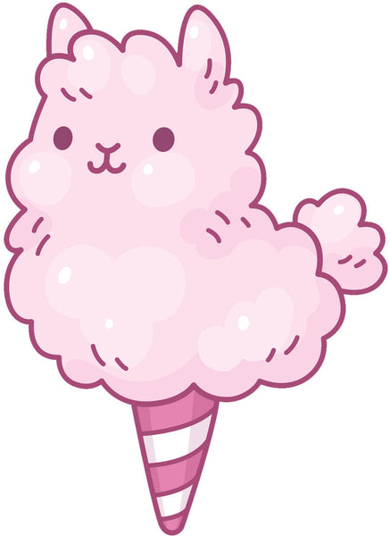 Pink Fluffy Cotton Candy Llama Alpaca Vinyl Decal Sticker