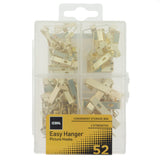 Coral Easy Hanger Assorted Picture Hook Kit for Wall Art and Mirrors with 4 Hook Sizes 52 piece pack set