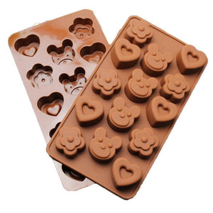 Cute Bear Heart Flower Chocolate Mold Candy Ice Soap Mould Fun Maker Silicone